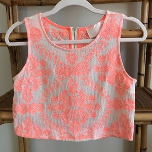 J.O.A. Neon coral / pink cropped pattern top - S